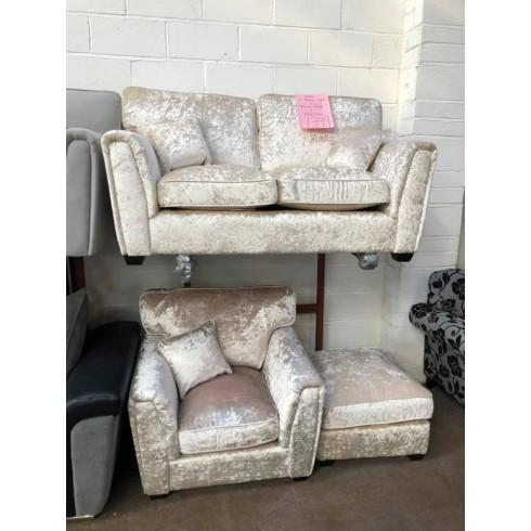 GLITZ - 2 Seater sofa + Single Chair + Footstool